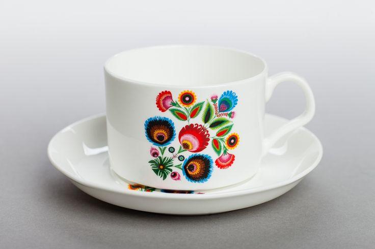 Filiżanka INEZ ze wzorem łowickim INEZ cup with Lowicz decoration (Polish region)