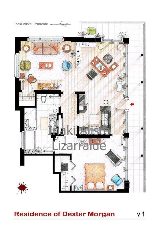 Floorplan van Dexter Morgan's appartement en plattegronden van andere series - http://www.etsy.com/nl/shop/TVFLOORPLANSandMORE