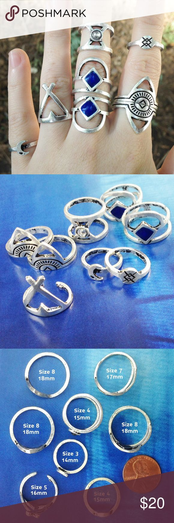 💥20% OFF💥 Boho Silver tone Rings (8) Chic!! 8 ring set in antique silver tone. Tribal inspired geometric designs. 1 ring has crescent moon charm. 1 ring has faux moonstone, double band. 2 rings have faux lapis blue enamel, double band. 3 rings have black etching. Sizes 3, 4, 5, 7, 8 as noted in photo 3. Brand new—this set is reduced in price due to one ring is bent (size 7, blue)—hardly noticeable when worn. Please review photos carefully sold as is. Each ring is beautiful on its own with…