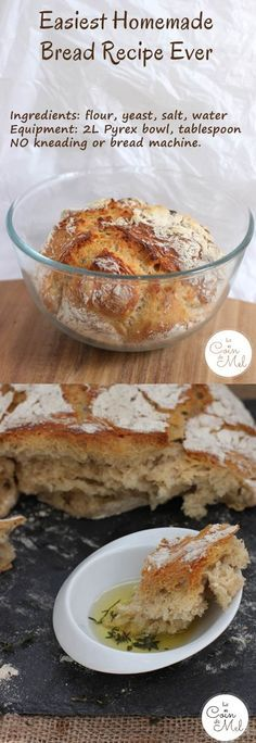 Easiest Homemade Bread Recipe Ever - no bread machine required, no kneading, only 4 ingredients (1 of them is tap water!). Equipment: ovenproof bowl, bit of foil, spoon and oven!