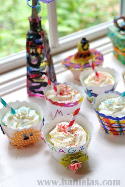 Let the kids decorate cupcake wrappers and then eat a cupcake! http://www.hanielas.com/2013/08/back-to-school-cupcake-couture-blog.html