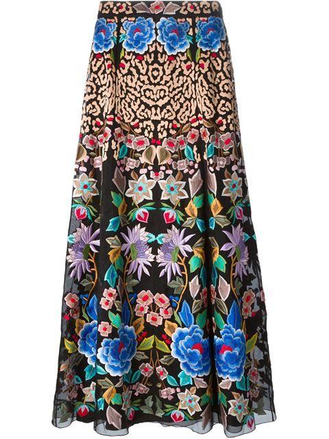 Temperley London falda larga con bordado floral en Elite.
