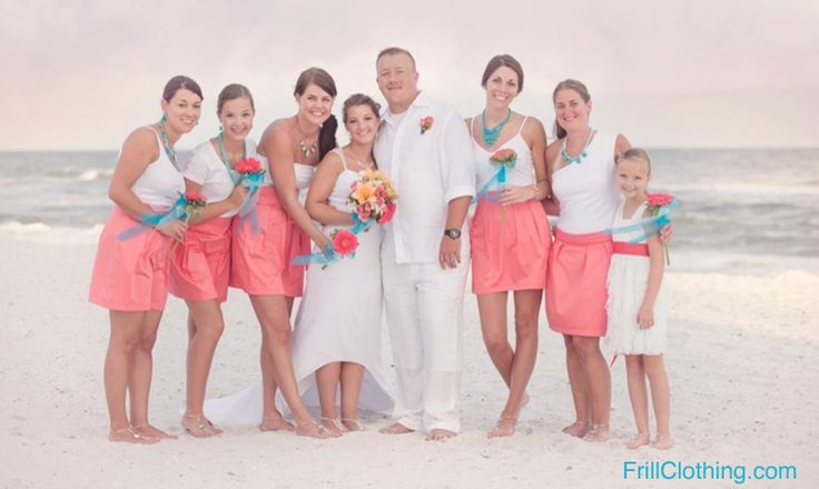 Frill's Coral Bridesmaid skirts are perfect for beach weddings!