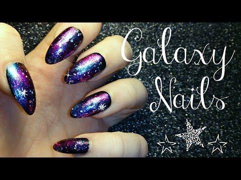 Easy Galaxy Nail Tutorial - YouTube