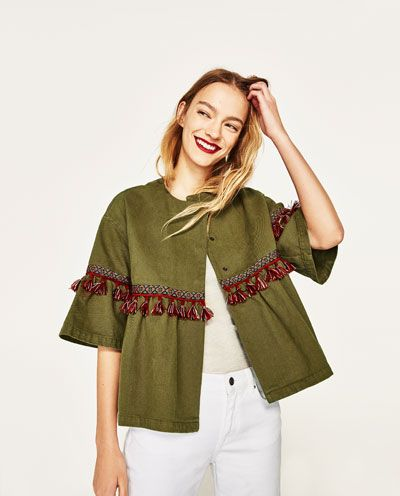 Image 2 of SHORT SLEEVE JACKET WITH TASSELS from Zara