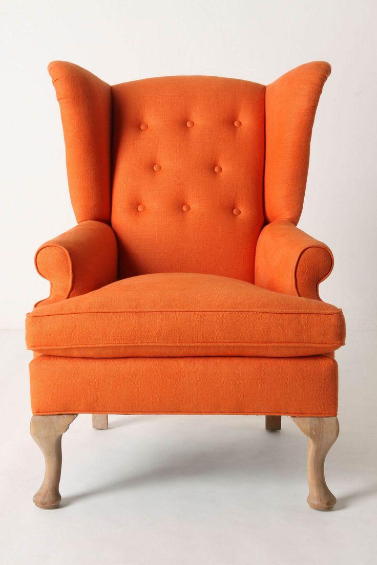 Wingback chair in vibrant orange
