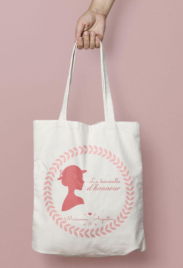 tote bag personnalisé demoiselle d'honneur rose poudré
