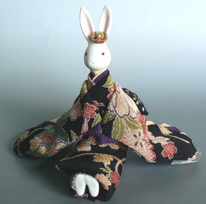 rabbit chirimen fabric music box doll