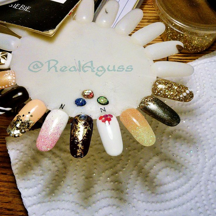 Some of the designs I've been practicing lately using UV and glitters #nailart #neonails