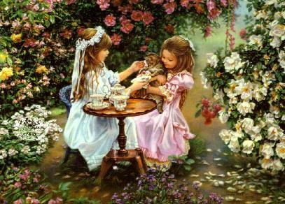 Tea with Kitty: painting by Sandra Kuck