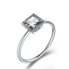 Bezel Set Princess Cut Diamond Ring in 14k White Gold - $395