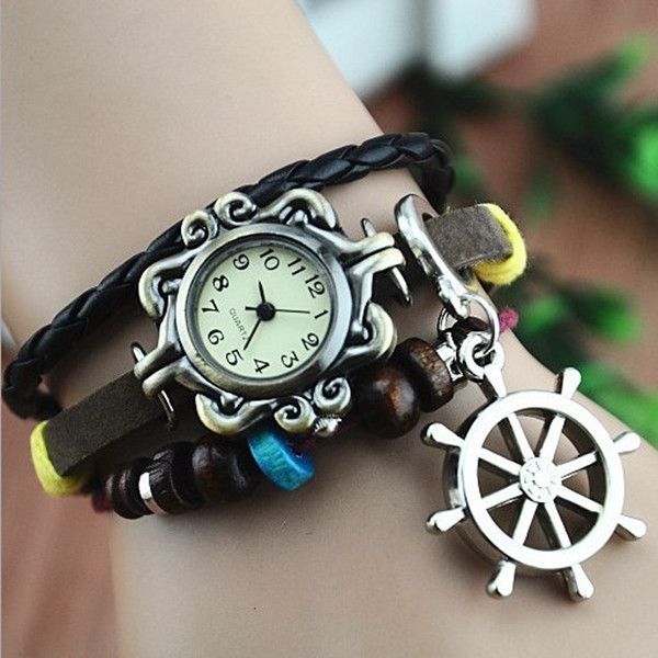 Leather Belt Watch with Helm Pendant and Wooden