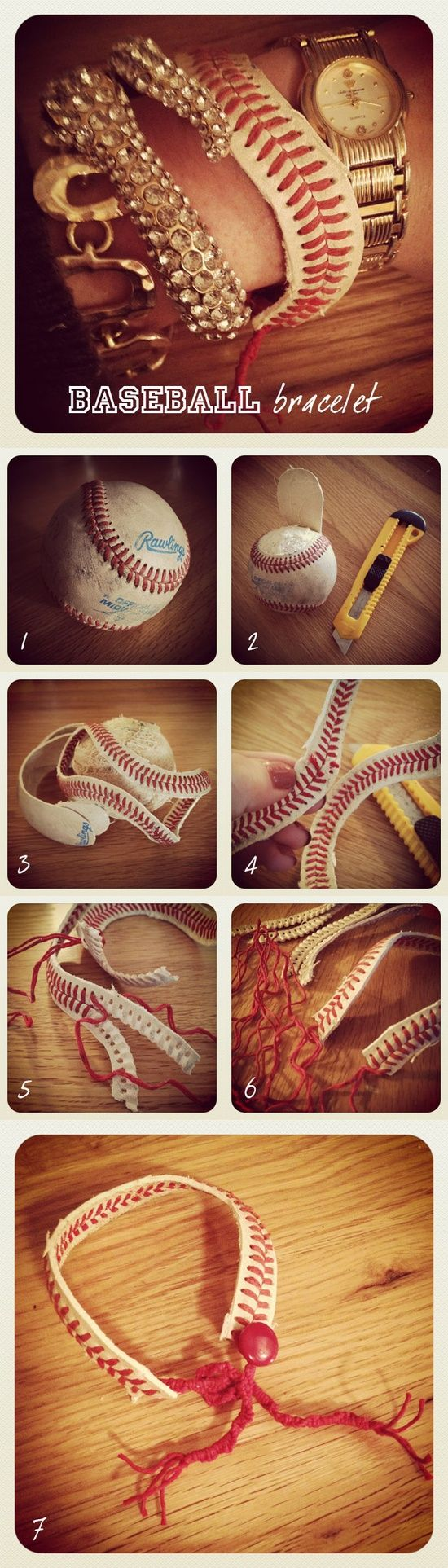 Instead of using a baseball?  Use a softball. Our girls make these all the time!  Use the threads on the ball OR use new....just be sure NOT to use a synthetic ball!  Leather is best....cut as close to the laces as possible but leave a clean edge, even all the way around (my kids father does this step).  Its not easy getting the skin off a ball.  Ask for help if your younger!!