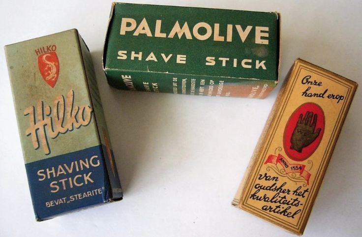 """Hilko shaving stick bevat """"Stearite""""- Palmolive shave stick - de Vergulde Hand anno 1554 Onze hand erop   van oudsher het kwaliteits-artikel -  scheerzeep in staaf-vorm"""