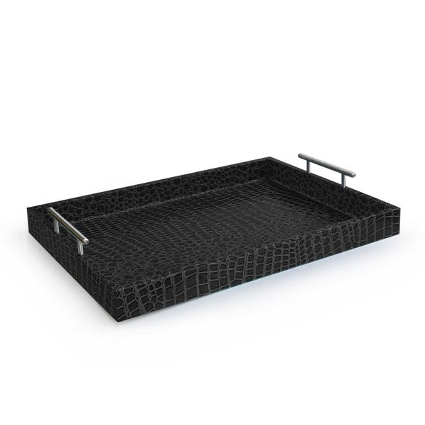 Alligator Black Tray with Metal Handles - Overstock™ Shopping - Great Deals on Accents by Jay Serving Platters/Trays