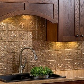 Fasade Fleur De Lis Cracked Copper Backsplash Kit Sample
