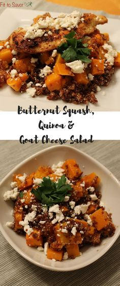 Butternut Squash, Quinoa & Goat Cheese Salad. This is seriously one of my favorite fall or winter side dishes! And so easy to turn it into a healthy weeknight meal with some chicken! Perfect 21 day fix friendly recipe!