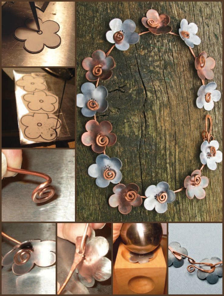 "Here's a great cold connection for beginners #jewelry project titled, ""Sawn Aluminum and Copper Necklace,"" by Helen Driggs! #coldconnection"