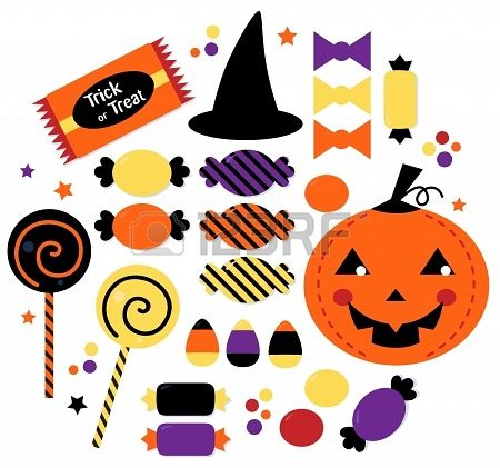 Halloween Trick or Treat Candies. Vector Illustration