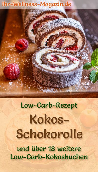 Baking Healthy Easter Cake: Coconut Chocolate Roll with Raspberries: Low-Carb Recipe for …  – Ostern Rezepte – Kuchen backen & Süßes