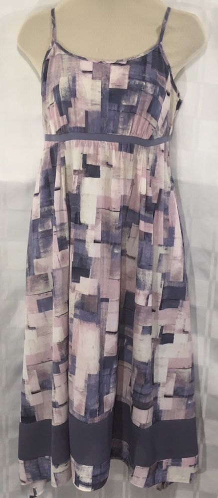 Simply Vera Wang Womens Small Kerchief Sun Dress Purple Watercolor Print Strap #SimplyVeraVeraWang #KerchiefSundress #purplewatercolordress