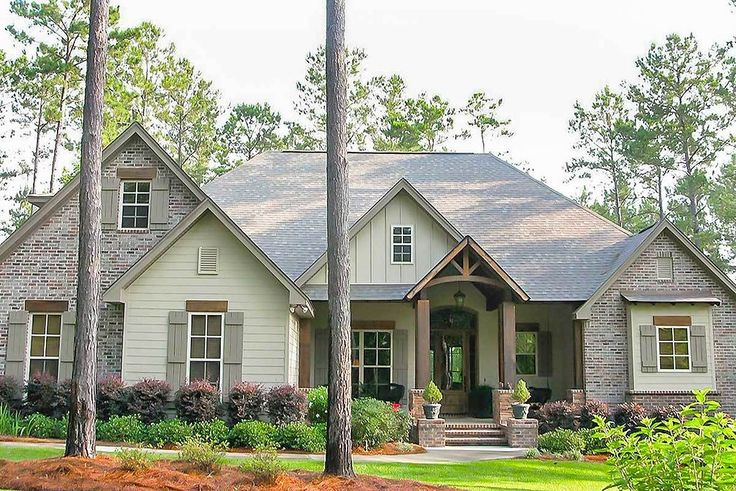Craftsman House Plan with Rustic Exterior and Bonus Above the Garage - 51746HZ - 01