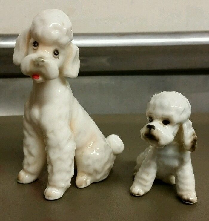 2 Vintage Porcelain White Sitting Poodle Dogs Pups friends free shipping