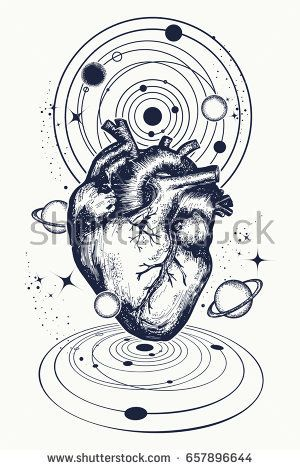 Heart in space tattoo. Anatomic heart among galaxies and planets. Symbol of love, philosophy, psychology, imagination, dream. Surreal heart t-shirt design