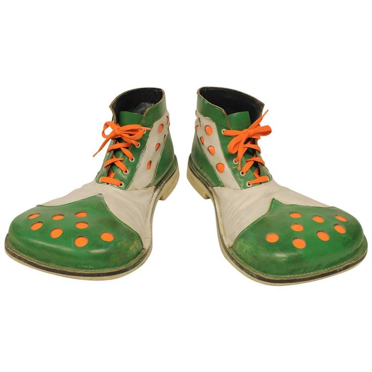 1950s Leather Clown Shoes | From a unique collection of antique and modern carnival art at https://www.1stdibs.com/furniture/folk-art/carnival-art/