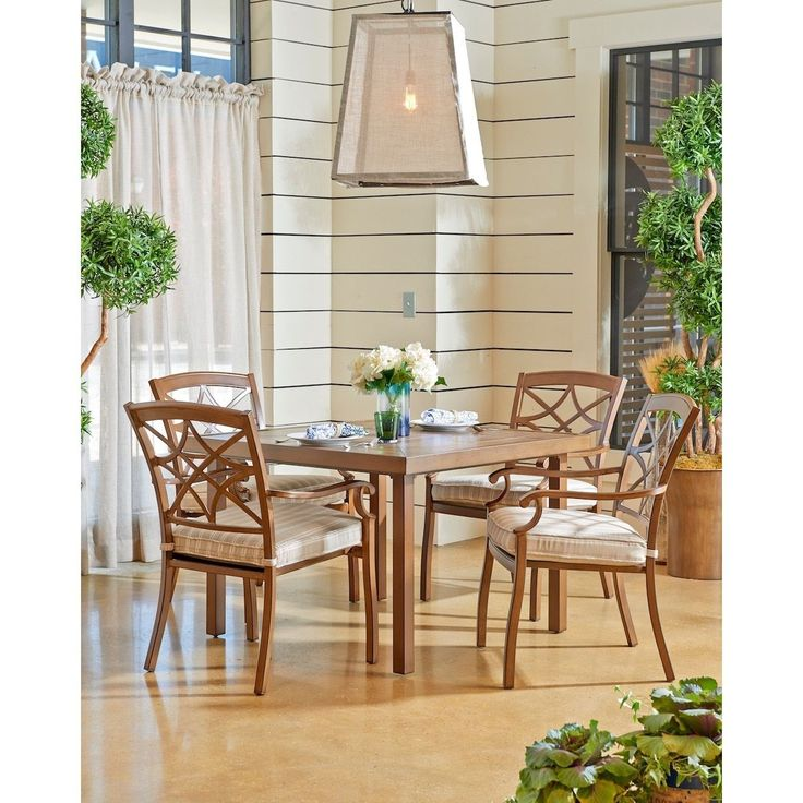 """Klaussner Furniture Made to Order Trisha Yearwood Outdoor 42"""" Dining Table with 4 Dining Chairs in Espadrille Driftwood (42"""" Dining Set - Beige), Size 5-Piece Sets, Patio Furniture (Polyester)"""