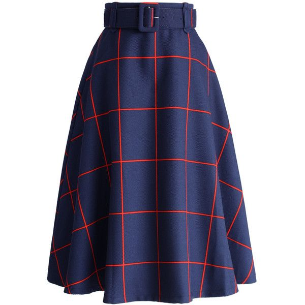 Chicwish Sway the Plaids Belted Midi Skirt in Navy ($42) ❤ liked on Polyvore featuring skirts, blue, print midi skirt, calf length skirts, print skirt, tartan skirt and retro midi skirt