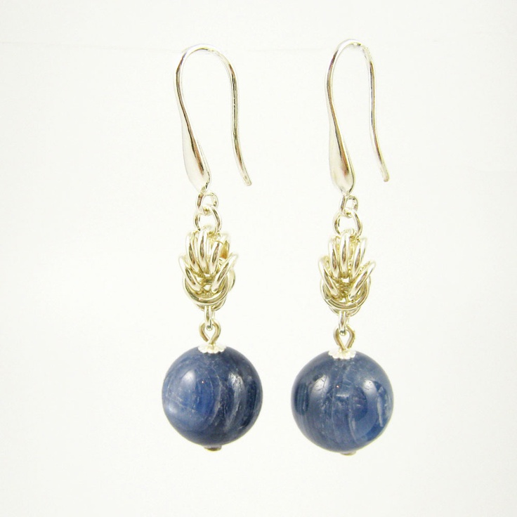 Kyanite and sterling silver chain maille earrings by Gemtation Jewellery