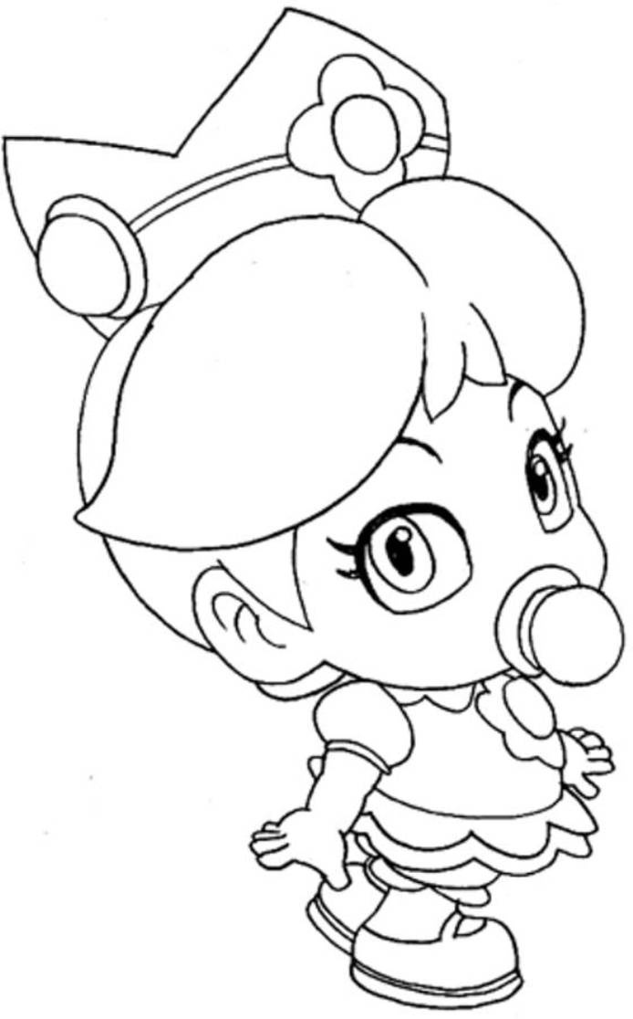 download baby princess peach mario coloring pages - Rosalina Peach Coloring Pages
