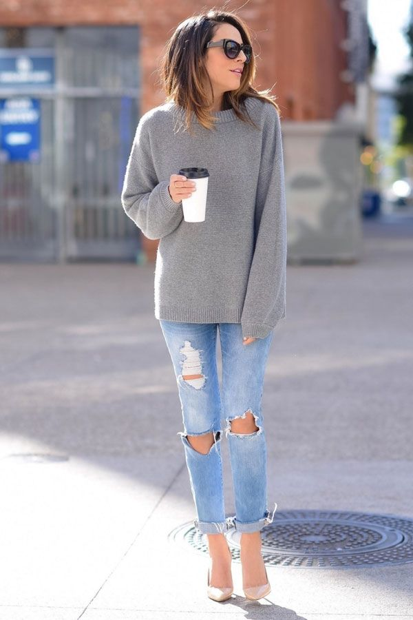 lucy whims destroyed jeans grey sweater coffe street style