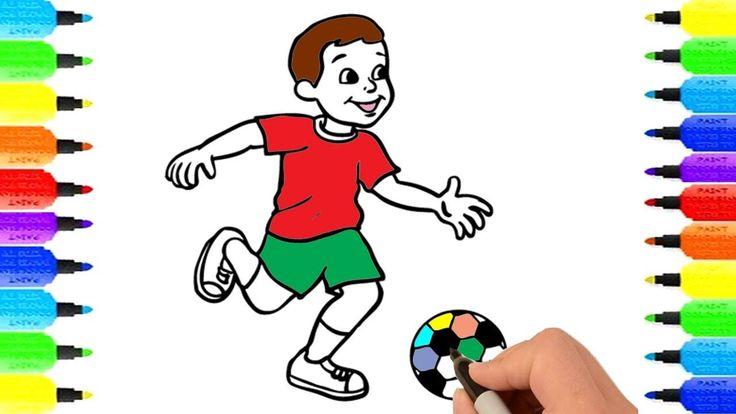 How to Draw Football Player, Đồ Chơi Tô Màu, Tô Màu Cầu Thủ Đá Bóng, Vẽ ...