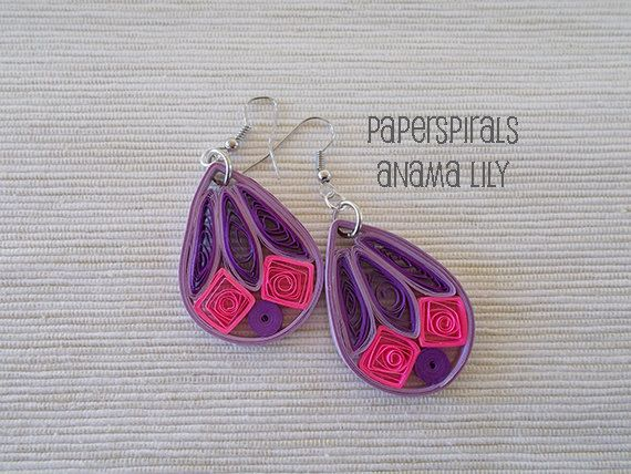 Quilled Paper Dangle Earrings  Colorful Drops ♥ by PaperSpirals, €9.00