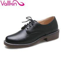Vallkin 2017 blanco negro med de tacón mujer bombas lace up nuevo primavera Zapatos de Las Mujeres Estilo de la Universidad de Suave Pu de La Manera Zapatos de Tamaño Grande 34-43(China (Mainland))