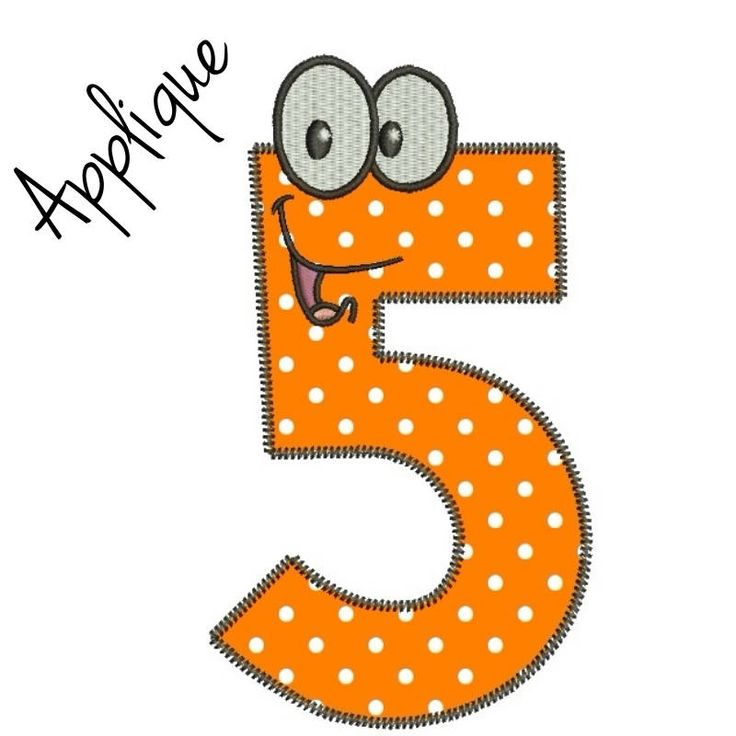 Number 5 machine embroidery applique design five birthday kids pes files in the hoop towel baby designs by SvgEmbroideryDesign on Etsy