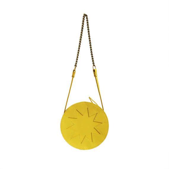 La Lisette // Yellow circle bag, yellow Leather bag, round bag, zig zag, shoulder bag, festival bag