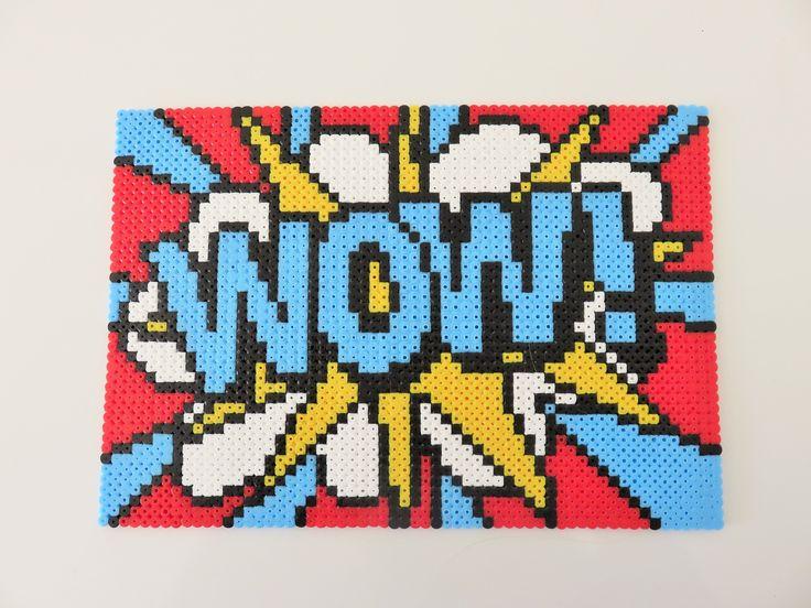 Tableau pop art WOW ! réalisé en perles à repasser de marque HAMA : Décorations murales par missbricolette