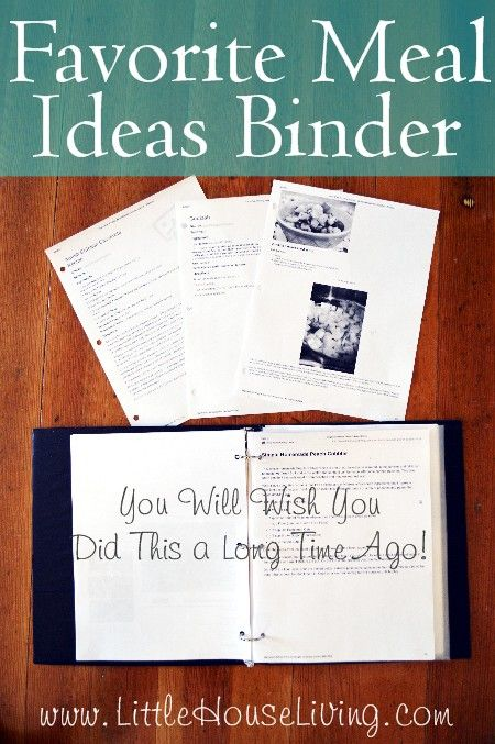 Favorite Meal Ideas Binder and Planner - Little House Living