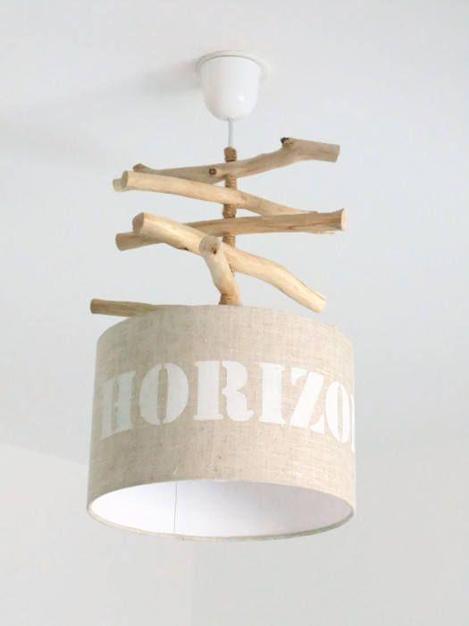 Lustre bois flotté Lin Horizon abat jour cylindre 28 cm