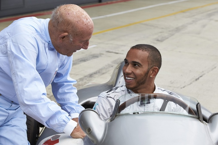 Sir Stirling Moss, Lewis Hamilton and Mercedes-Benz W 196 at Silverstone, 31 May 2013 #F1