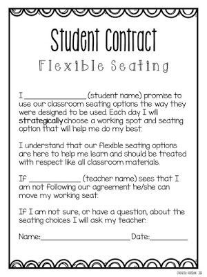 Flexible Seating contract to help keep kids on task in a non-traditional classroom setup.