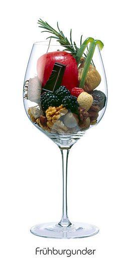 Descrição aromática da variedade: FRÜHBURGUNDER: Brombeere, Himbeere, Getrocknete Feige, Mandel, Kokosnuss, Walnuss, Dattel, Roter Apfel, Grüne Paprika, Rosmarin, Sternanis, Bitterschokolade