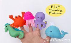 Patrón digital: Criaturas marinas fieltro titeres de dedo