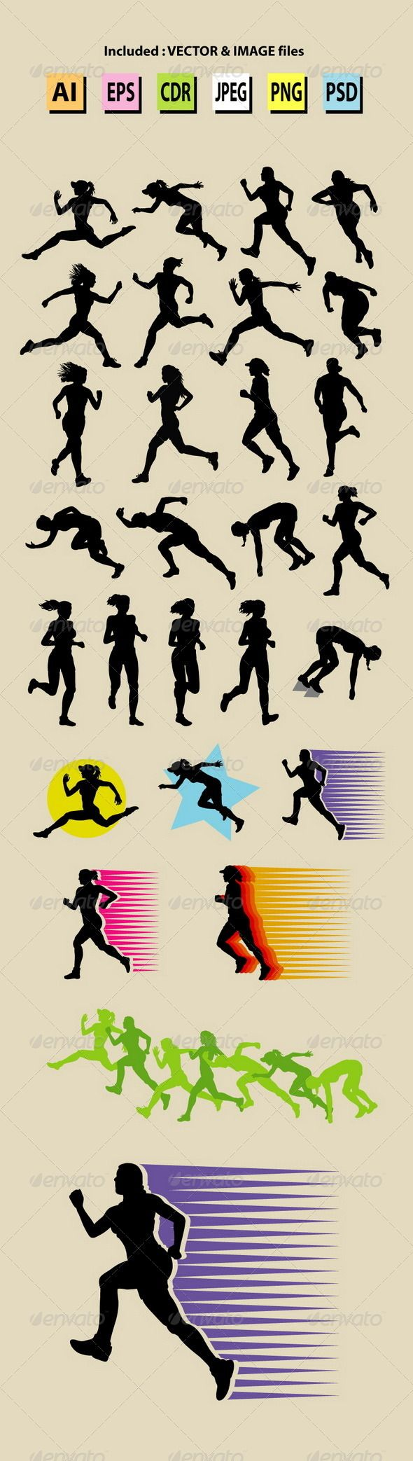Female Running Sport Silhouettes #GraphicRiver Nice, smooth and editable girl running silhouettes vector. Good use for your symbol, logo, icon, mascot, wallpaper, background, or any design you want. Easy to use, edit, or change color. Use Adobe Illustrator or any support vector program to edit the vector file. ZIP included : AI CS, EPS8, CDR coreldraw (vector files = You can use any size you want, without loss resolution), JPEG high resolution, PNG transparent and PSD photoshop file.