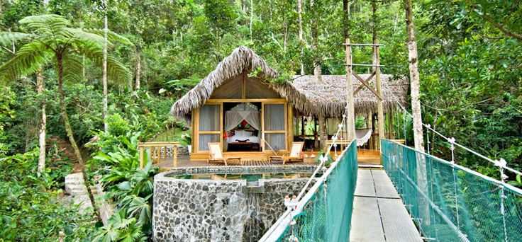 Pacuare Lodge is in the middle of the rainforest, and you can take your meals in a sky-high treehouse!
