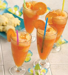 *Double Orange Crush Floats - Serves 4 **Ingredients    1 (48 0z) container frozen Hannaford Orange sherbet or any Orange sherbert  1 (2-liter) bottle orange crush drink  1/2 cup fresh raspberries  1 each orange cut in half and sliced into 1/4-inch slices  1 bunch Fresh mint leaves  **Instructions    Fill each glass halfway to the top with Orange Crush soda.  Scoop in 2/3 cup Orange sherbet.  Garnish with orange slices, raspberries and mint leaves. Serve at once.