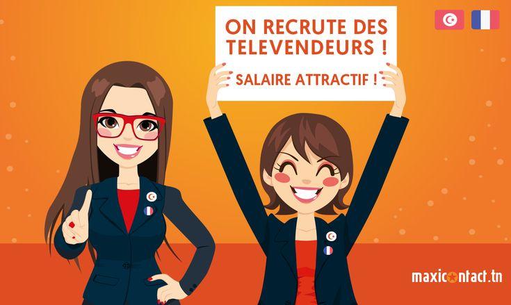 http://www.maxicontact.tn #Maxicontact  recrute 20 télévendeurs en assurance mutuelle – H/F – CDI à temps-plein.  Bilingue en français, parfaite élocution, expérience réussie de 6 mois minimum télévente assurance mutuelle